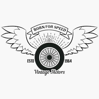 Wiel met vleugels vintage hipster logo print voor design kleding tshirt stempel met lint