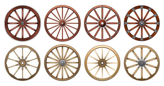 Wiel van wilde realistische set west. realistische set pictogram houten radslag. illustratie wiel van het westen wild op een witte achtergrond.