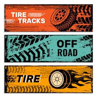Wielen banners. banden op wegbeschermer auto vuil sporen grunge vectorafbeeldingen. illustratie poster kaart, web auto-service