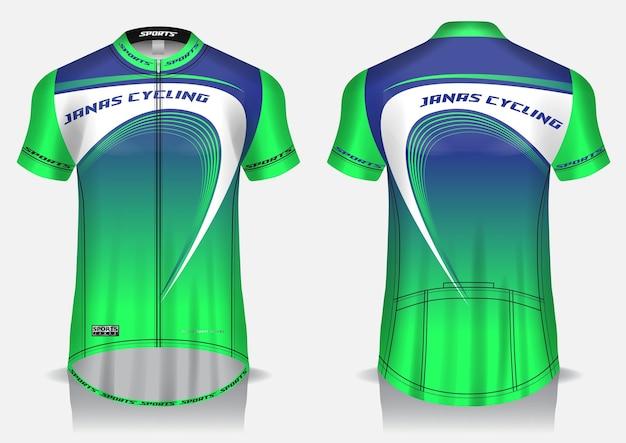 Wielertrui groen sjabloon, uniform, voor- en achteraanzicht t-shirt