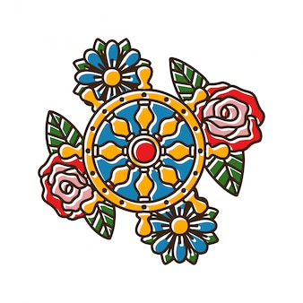 Wielnavigatie met rose tattoo