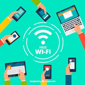 Wifi achtergrond met verscheidenheid aan apparaten