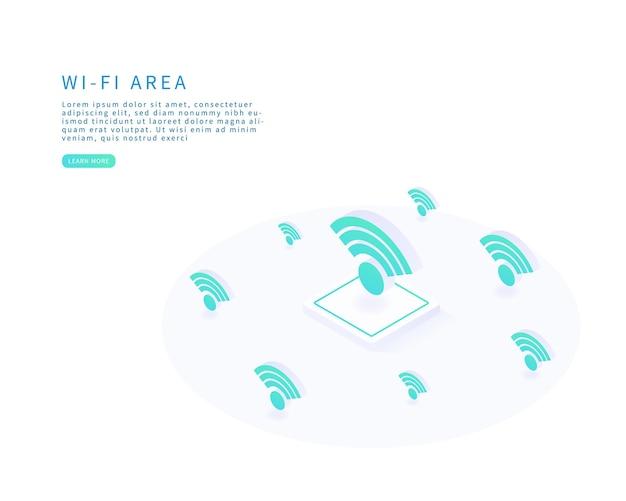 Wifi-gebied openbaar netwerk in isometrische vector platte vectorillustratie