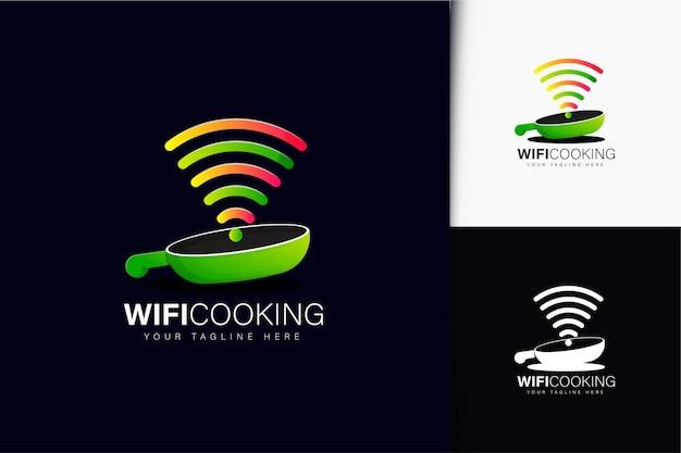 Wifi koken logo-ontwerp met verloop