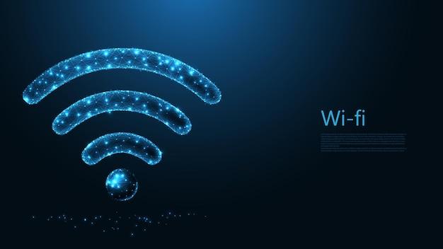 Wifi symbool lijn verbinding. laag poly draadframe-ontwerp. abstracte geometrische achtergrond. vectorillustratie.