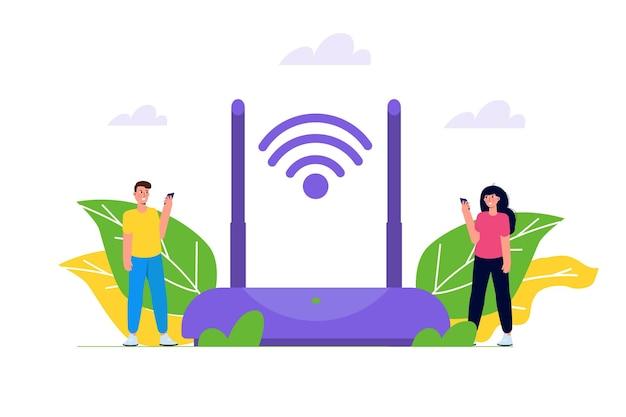 Wifi-verbindingsconcept. op afstand aangesloten apparaten. vector illustratie.