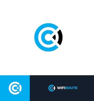 Wifi vlakke stijl vector logo concept draadloos signaal geïsoleerd pictogram wifi abstracte zone symbool letter c