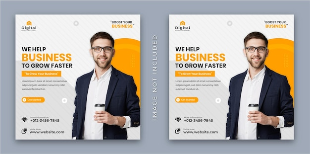 Wij helpen uw bedrijfsbureau en zakelijke flyer vierkante instagram sociale media banner plaatsen