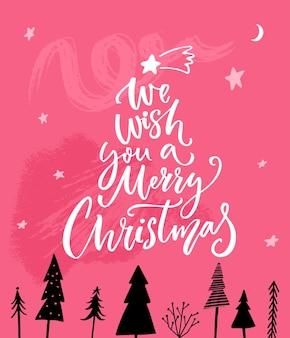 Wij wensen u een vrolijk kerstfeest. handgemaakte kalligrafie inscriptie op roze achtergrond met winter bos illustratie. wintervakantie helder wenskaart ontwerp.