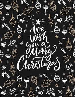 Wij wensen u een vrolijk kerstfeest. wenskaart met handschrift en getekende decoraties.