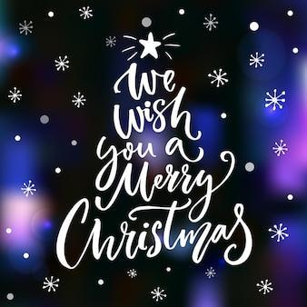Wij wensen u een vrolijk kerstfeest. wenskaart ontwerp. borstel vector belettering foto-overlay.