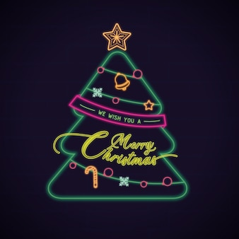 Wij wensen u prettige kerstdagen, een wenskaart met neoneffect