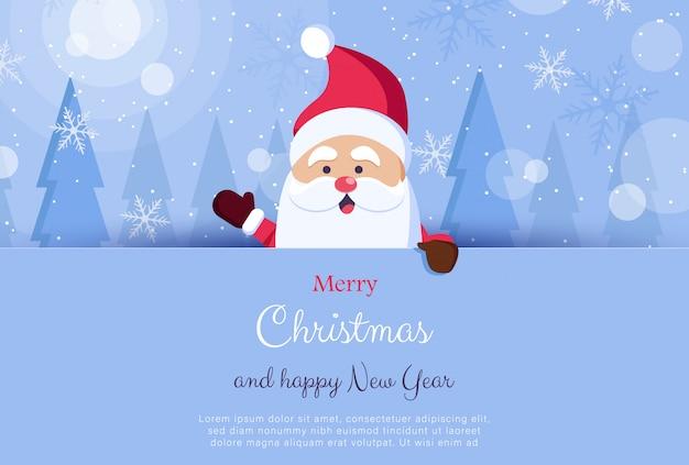 Wij wensen u prettige kerstdagen. gelukkig nieuwjaar. santa claus-karakter met groot uithangbord. vakantie wenskaart met kerst sneeuw. illustratie.