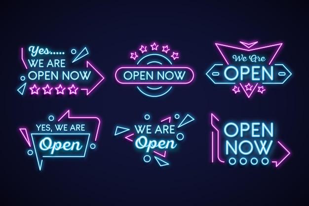 Wij zijn open neon sign collectie concept