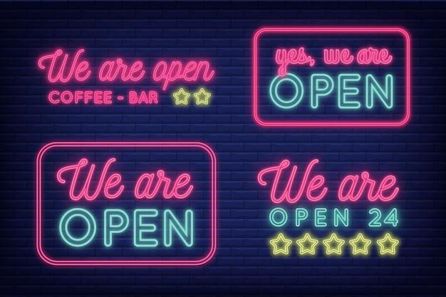 Wij zijn open neon sign set concept