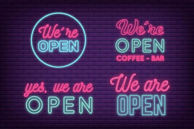 Wij zijn open neon sign set design