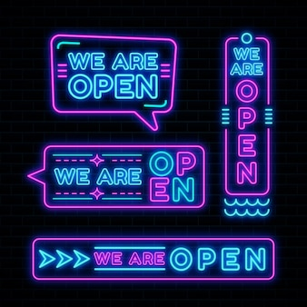 Wij zijn open neon sign set design