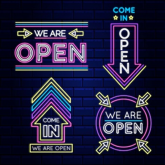 Wij zijn open neonreclame collectie