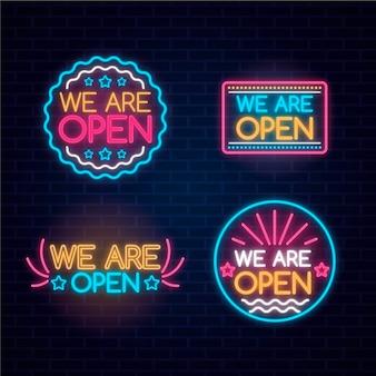 Wij zijn open teken neon collectie concept