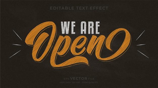 Wij zijn open. typografie schoolbord bewerkbaar teksteffect