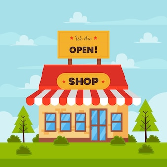 Wij zijn open winkel en jonge dennen Gratis Vector
