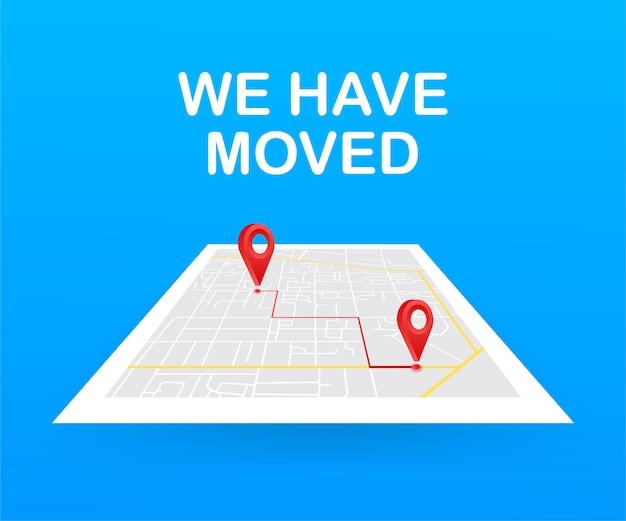 Wij zijn verhuisd. bewegend kantoor teken. clipart afbeelding geïsoleerd