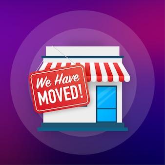 Wij zijn verhuisd. office teken verplaatsen. clipartbeeld op blauwe achtergrond wordt geïsoleerd die. illustratie.