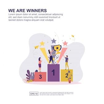 Wij zijn winnaars concept vector illustratie plat ontwerp voor presentatie.