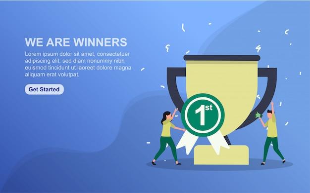 Wij zijn winnaarsbanner. illustratieconcept eenvoudig te bewerken en aan te passen.