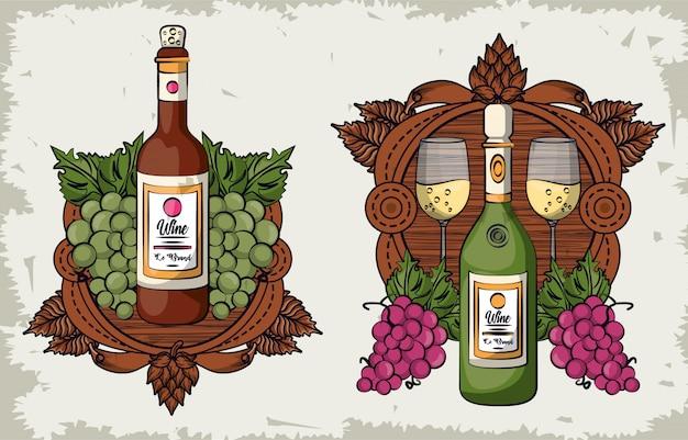 Wijn bekers en flessen met druiven fruit vector illustratie ontwerp