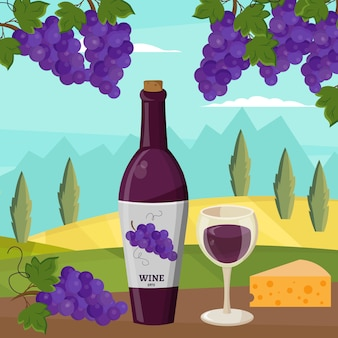 Wijn en druiven wijnbereiding vector set illustratie