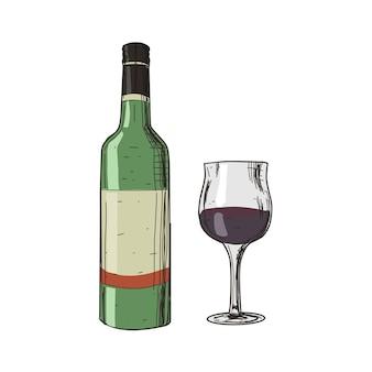 Wijn en glas op vintage stijl geïsoleerd op wit