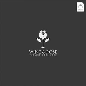 Wijn en roos logo sjabloon vector geïsoleerd, pictogram elementen