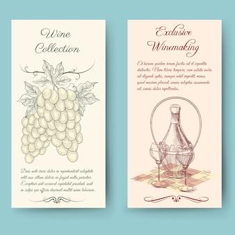 Wijn en wijn die verticale banners maken. fles etiket, fruit vintage, vectorillustratie
