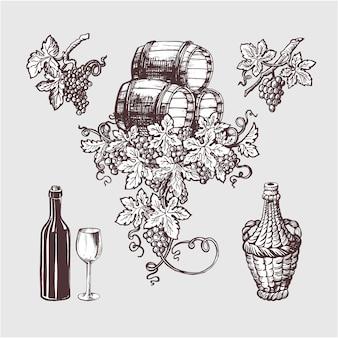 Wijn en wijnbereiding vintage set.