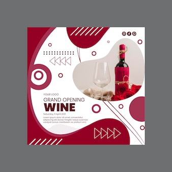 Wijn grand opening squared flyer-sjabloon