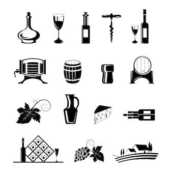 Wijn icons set