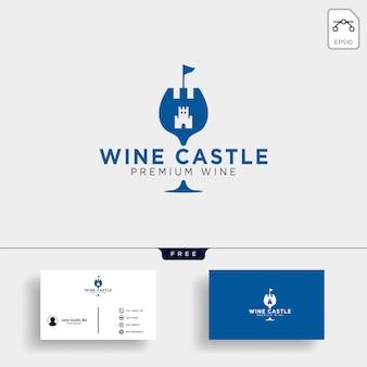 Wijn koninkrijk, koningin wijn elegante logo sjabloon vectorillustratie