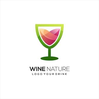 Wijn logo kleurrijke gradiënt abstract