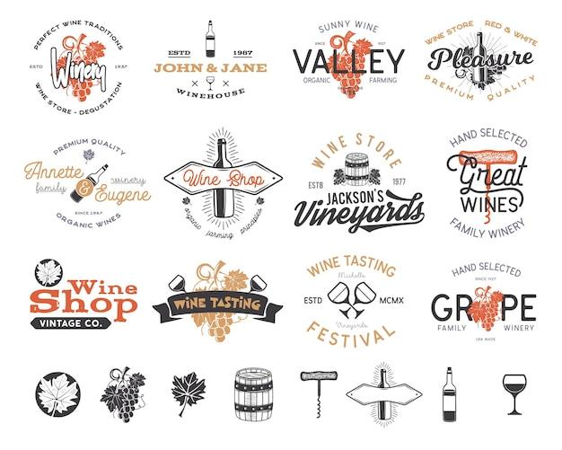 Wijn logo's, etiketten set. wijnmakerij, wijnwinkel, wijngaarden badges collectie. retro drankje symbool. typografische vormgeving vectorillustratie. voorraad vector emblemen en pictogrammen geïsoleerd op een witte achtergrond.