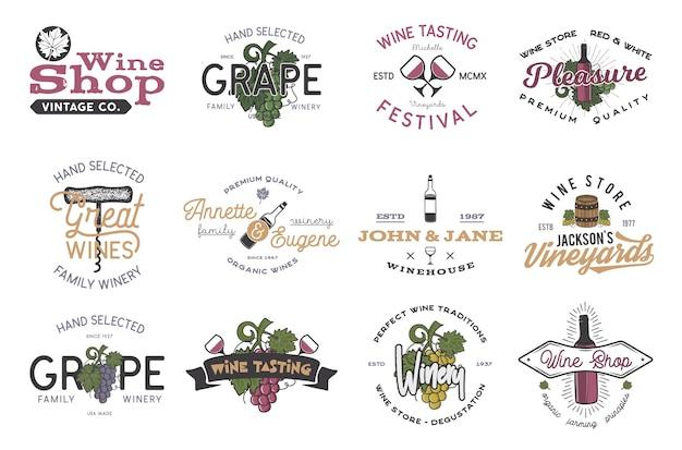 Wijn logo's, etiketten set. wijnmakerij, wijnwinkel, wijngaarden badges collectie. retro drankje symbool. typografische vormgeving vectorillustratie. voorraad vector kleurrijke emblemen en pictogrammen geïsoleerd op een witte achtergrond