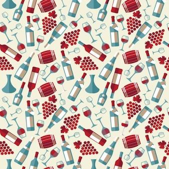 Wijn naadloos patroon met biootle en glas naadloze textuur voor het ontwerp