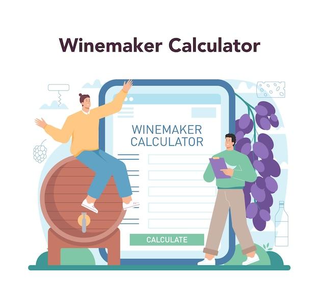 Wijn online service of platform. druivenwijn in een fles en glas vol