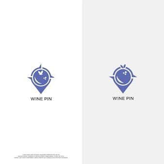 Wijn pin logo vector ontwerp tamplate