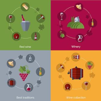 Wijn plat 4 pictogrammen samenstelling cirkels