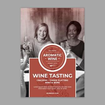 Wijn poster sjabloon met foto