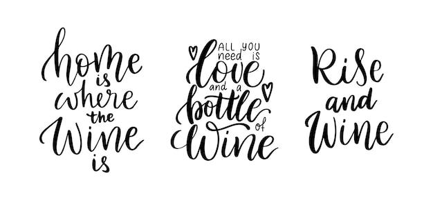 Wijn vector offerte set. positieve grappige uitspraken voor poster in café en bar, t-shirtontwerp. keuken grappige typografie poster set over liefde voor wijn. vectorillustratie geïsoleerd op een witte achtergrond.