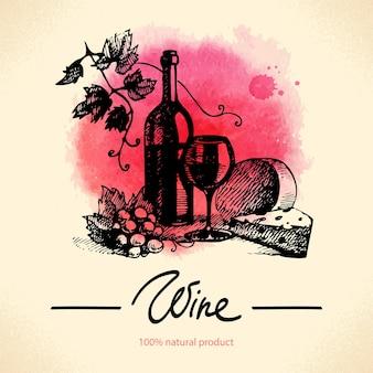 Wijn vintage achtergrond. aquarel handgetekende illustratie