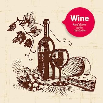 Wijn vintage achtergrond met banner. hand getrokken schets illustratie