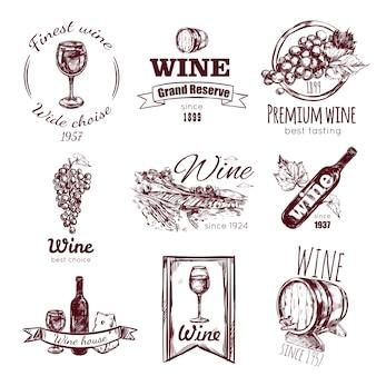 Wijn vintage badge set